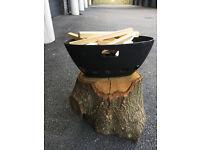 Custom made Firebowl / Barbecue - Cast Iron and Oak