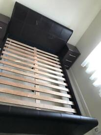 Standard double faux leather bed frame only