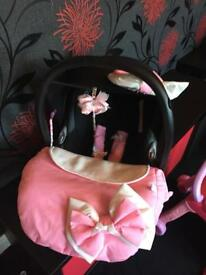 Car seat cover plus bow and strap covers ( car seat sold separately)