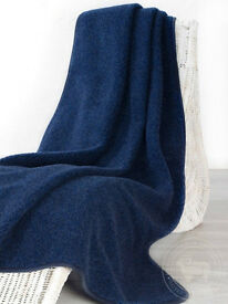 BLANKET MERINO WOOL TUMBLER 140X200cm HYPOALLERGENIC NAVY BLUE