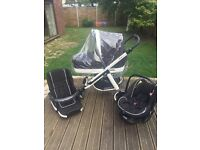 REDUCED!! Black Magic Travel System - Pram - Pushchair - Carrycot - Car seat