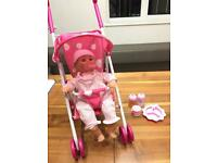 Dolls world stroller and baby with baby food