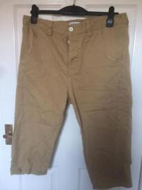 Men's top man chino beige tan long shorts like new 34 waist