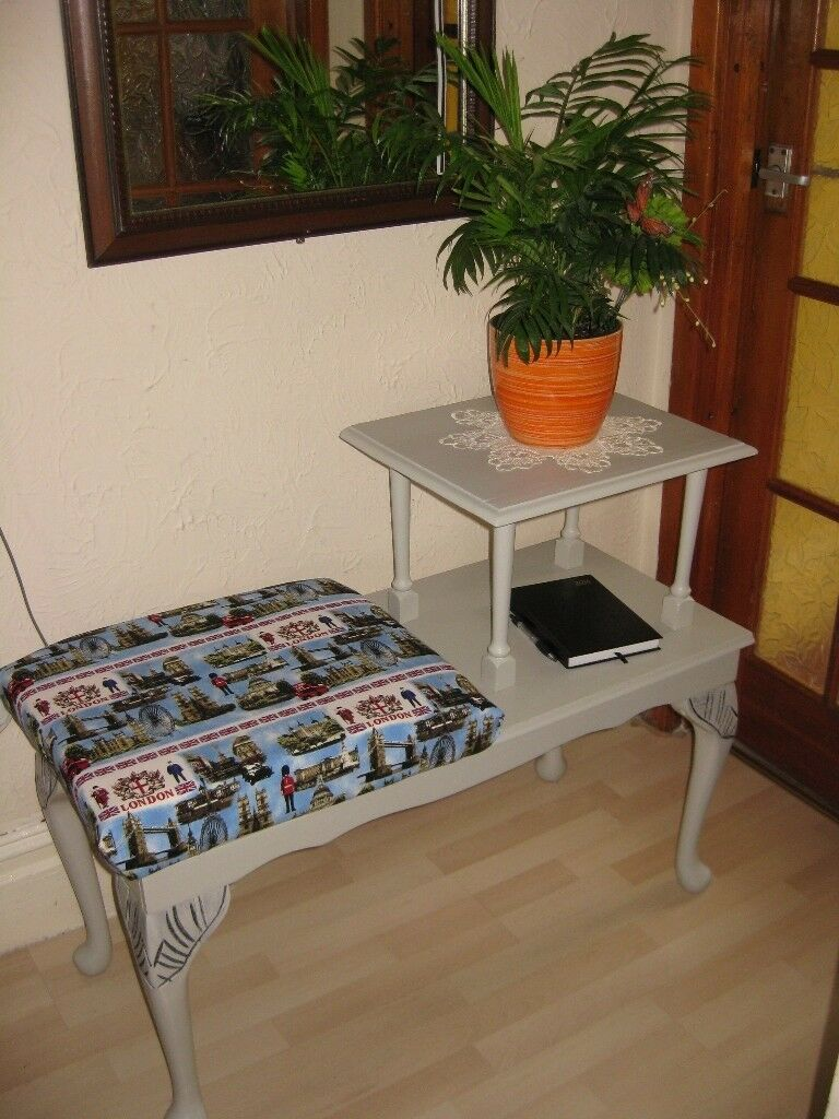 BEAUTIFUL UPCYCLED PHONE TABLE/hallway bench: SIZE:L-96.5cm,W-42.5cm,H-46cm lowest,H-74.5cm highest
