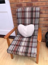 retro fireside chair tweed type fabric
