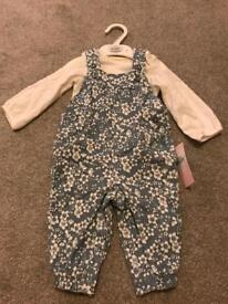 New M&S dungarees and top set - 6-9mths