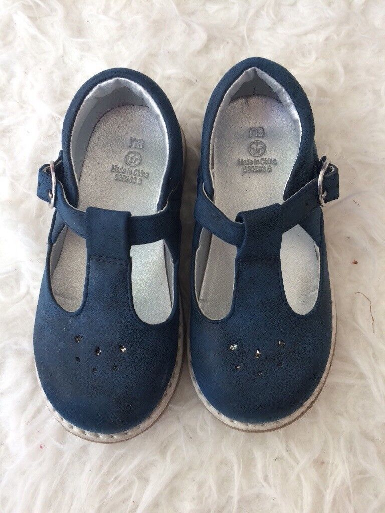 Navy t bar shoes size 7