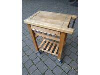Solid wood kitchen trolley on wheels central London bargain