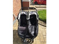 City mini jogger double pram. With rain cover and footmuff