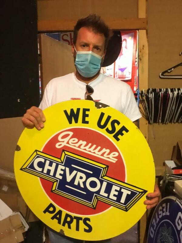 chevy soda tire beer motor gasoline oil dealer porcelain sign MAKE AN OFFER