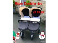 Exdisplay Hauck roadster duo side by side double buggy Pram pushchair with cosytoes
