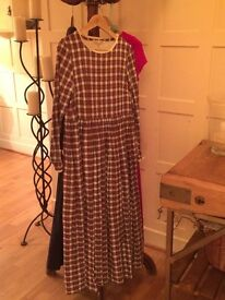 Gorgeous Christmas Cabbages & Roses red and white checked dress. Worn once!