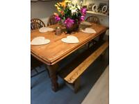Large Farmhouse oak vintage dining table 4 chairs and bench