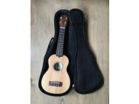 KALA SSTU TRAVEL SERIES SOPRANO UKULELE THIN LINE. Solid spruce top, Mahogany back and sides, & case