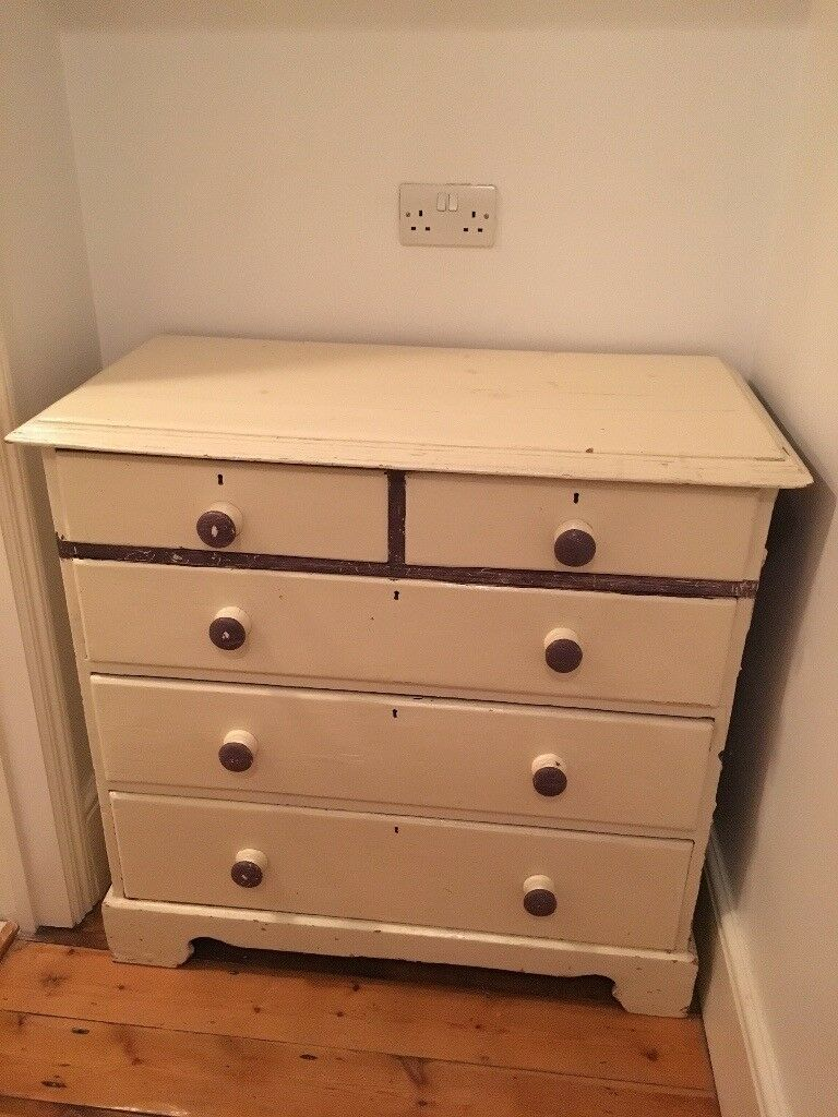Solid Wood Distressed Effect Large Chest Of Drawers