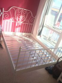 DOUBLE BED metal frame in white