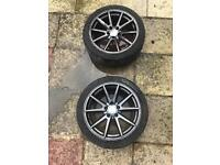 """18"""" Concave, Hyper Black, DLUX Alloy wheels with tyres"""