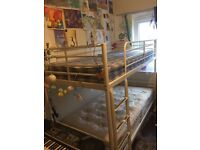 Ikea white metal bunk bed with mattresses