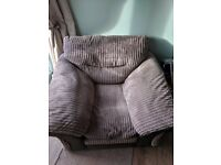 Brown settee and chair