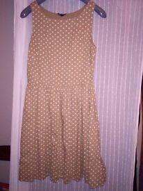 Coffee polkadots sundress, size 10