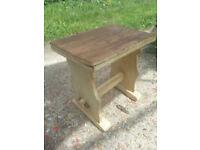 Upcycled, shabby chic, oak stool.