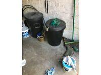 2 black garden bins