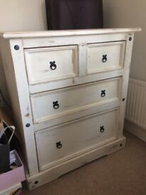 Distressed white chest of drawers