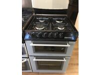 HOTPOINT 60CM ALL GAS COOKER IN SILIVER WITH LID