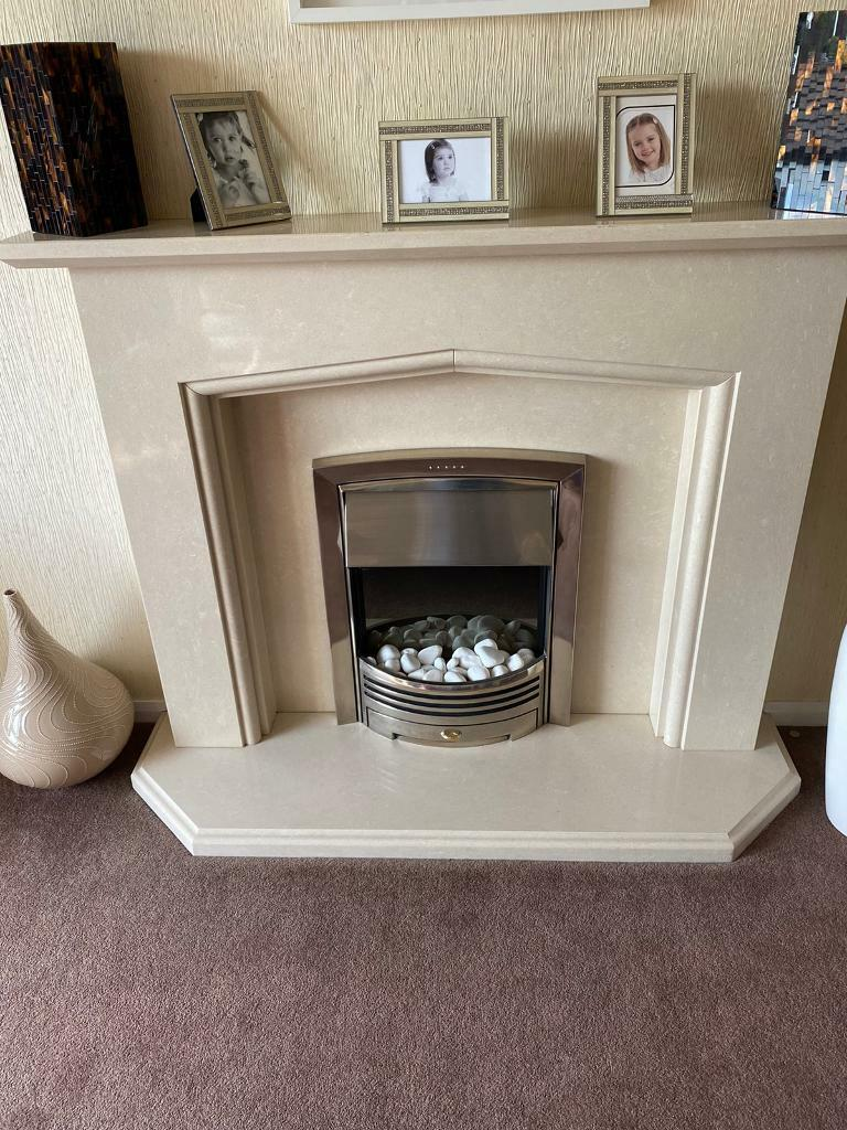 Cream Solid Marble Fire Surround With Elecric Fire Recessed Into Wall In Erskine Renfrewshire Gumtree