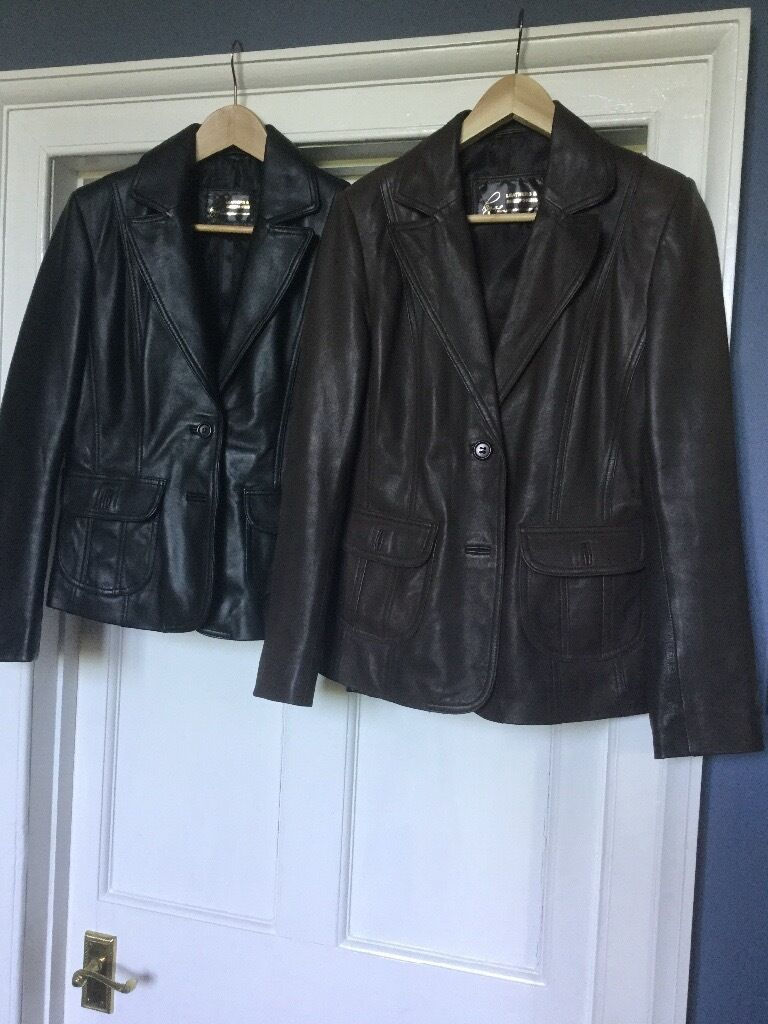 One brown and one black leather jacketin Leominster, HerefordshireGumtree - One dark brown and one black leather jackets with pockets on front from Higgs Leathers. Excellent condition hardly worn . Size 6/8 small. Each priced at £50