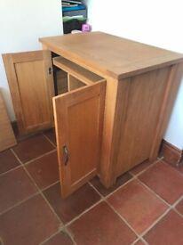 Solid Oak Computer Desk and Cabinet