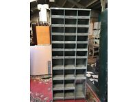 Grey Industrial Metal Bank Of 30 Pigeon Holes - Shelving Unit - Workshop