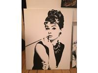 Painted (not printed) Audrey Hepburn and Marilyn Munro