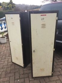 PAIR OF RETRO VINTAGE METAL SINGLE LOCKERS - GREAT UPCYCLE PROJECT!!!! SUPER FOR STORAGE!