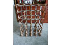 Vintage 24 Bottle Wine Rack Wood Metal.