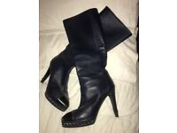 Genuine Chanel Navy Leather Boots