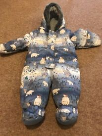 3-6 months snowsuit with foldover sleeves