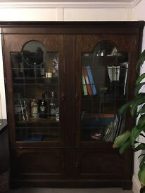 Antique Wooden Glass Display Cabinet / Cupboard