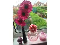 Pink accessories flowers candles vases