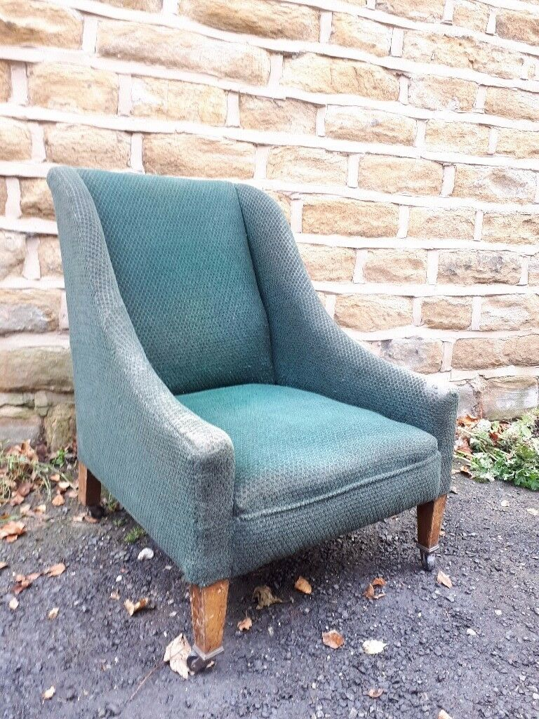 Victorian Antique Vintage Chair Armchair Dark Green Fabric Library Reading Upholstered Wing Back