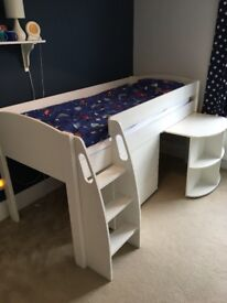 Stompa Uno S Midsleeper children bed with desk and 3 drawer chest