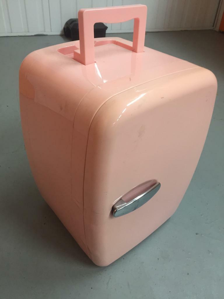 Retro pink mini fridge