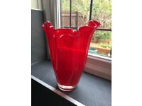Red Fluted Glass Vase – Collect Only