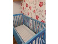 Cot and mattress, used for 5months