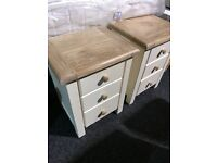 NEW solid oak bedside lockers--65 each-- four available