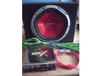 Sony XPLOD 1200w sub + SPLX SPLA300 300watt amp + wiring.