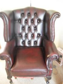 Chesterfield Queen Anne Oxblood Leather Chair & 3 Seater Sofa