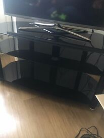 BLACK GLASS TV STAND - GREAT CONDITION - £60