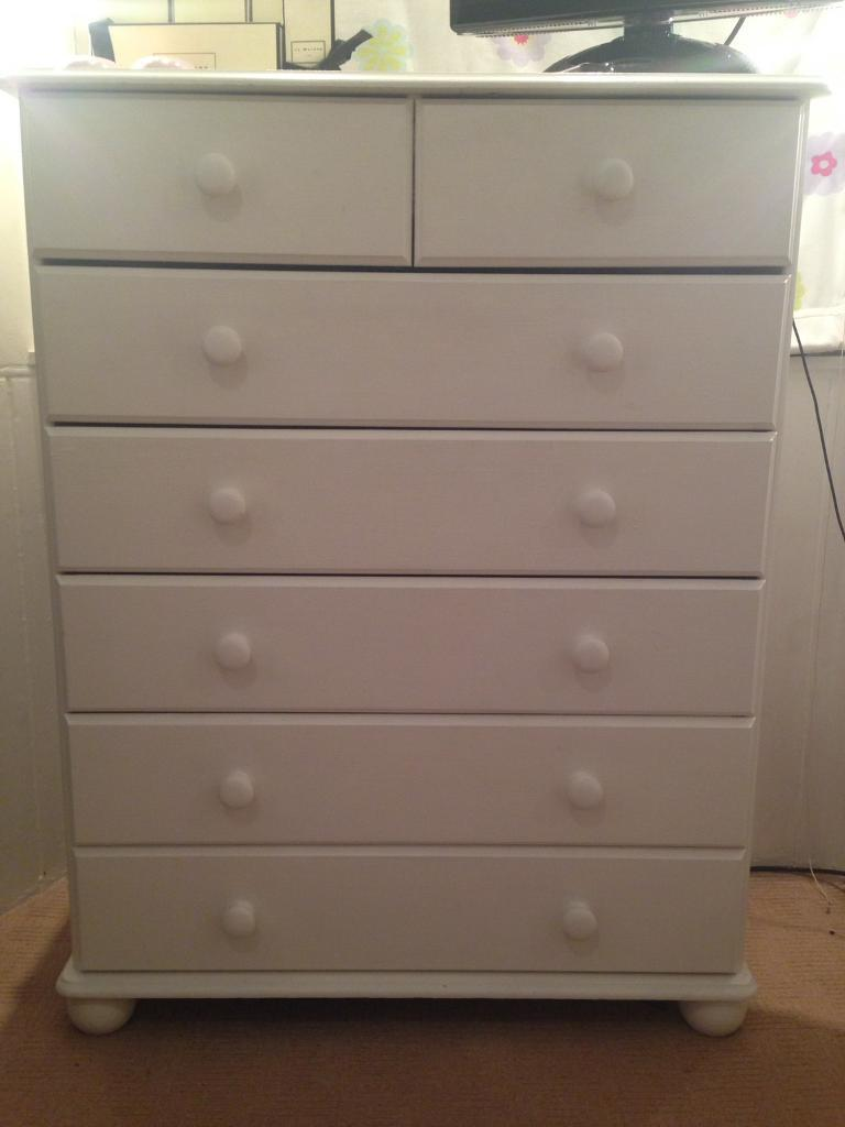 White bedroom furniture setin Portobello, EdinburghGumtree - Pine Bedroom Set consisting of1x tall boy1x double bed1x double wardrobe1x bedside cabinetThese are quite old and originally natural pine and now painted in white. The tall boy drawer runners may need to be replaced as a couple are a bit wobbly but...