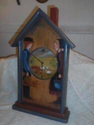 Vintage TALL Hand-Painted Wood ToleWare Folk Art Farmers House Wall Mantel Clock